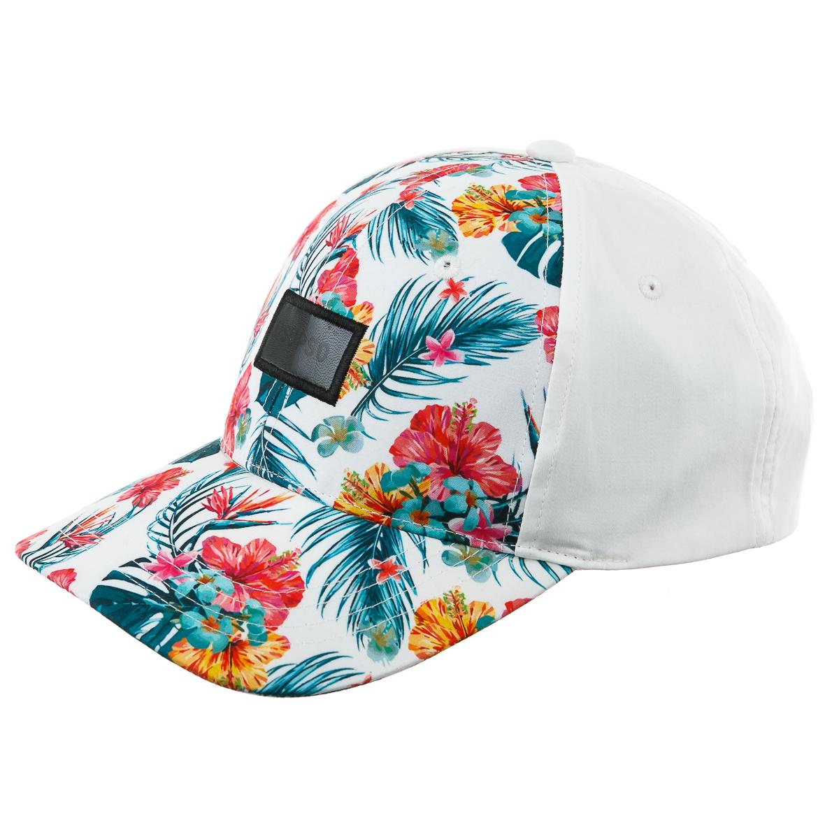Кепка белая с яркими цветами