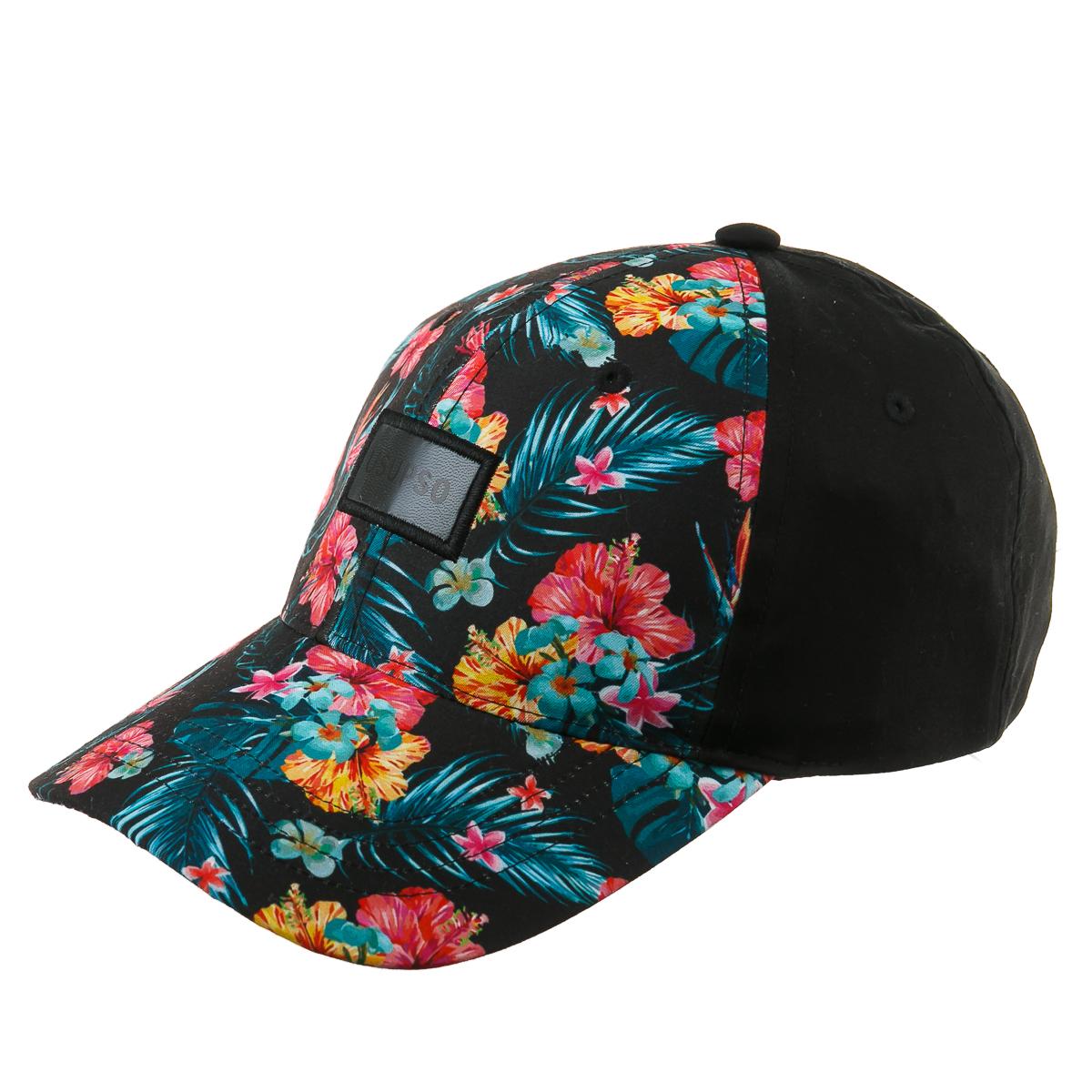 Кепка черная с яркими цветами