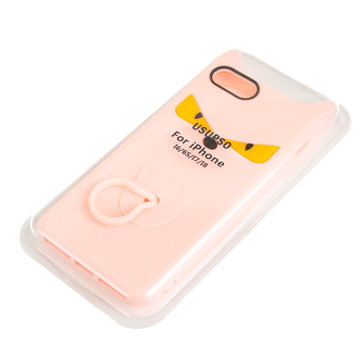 Чехол для iPhone 6 6S 7 8 розовый дьявол с кольцом