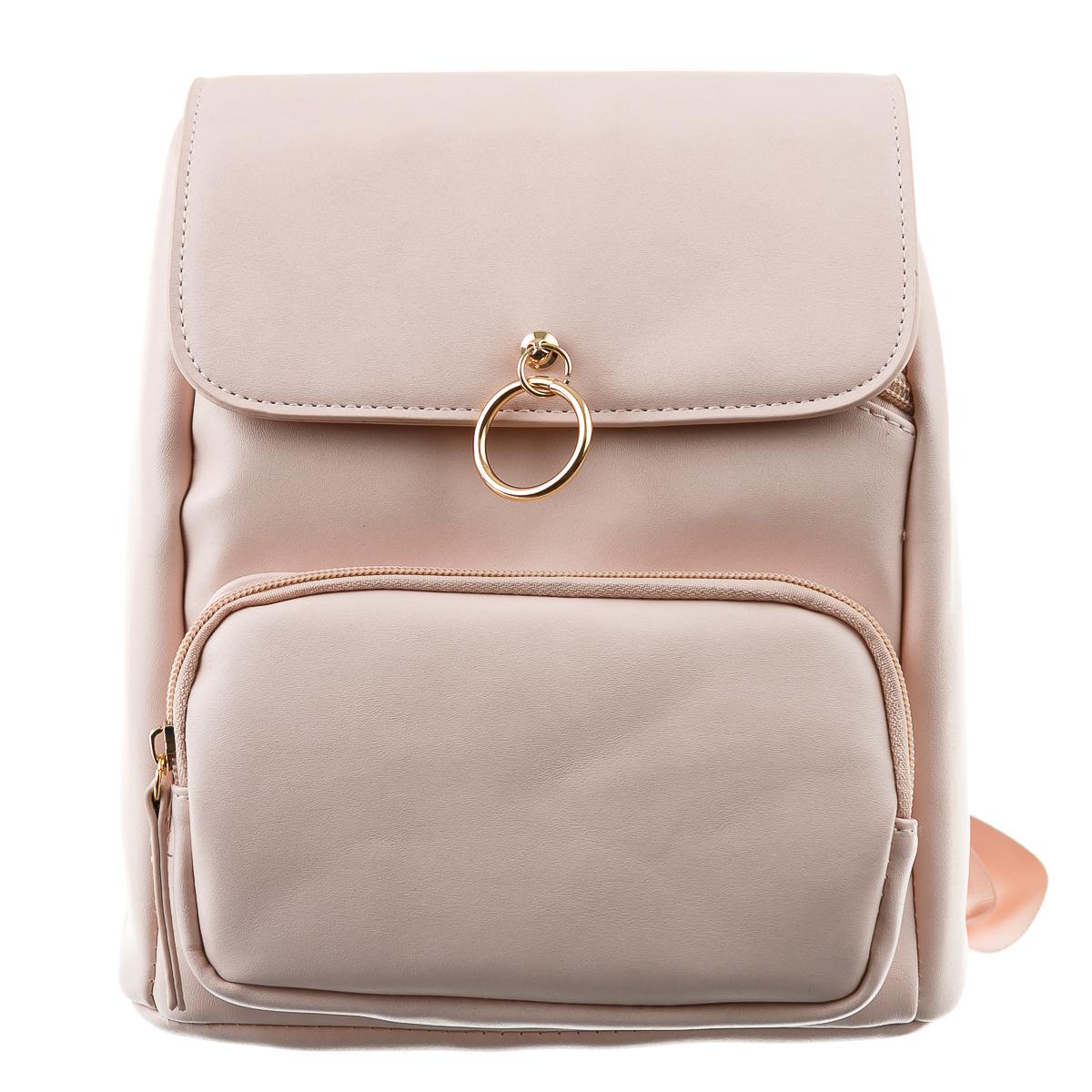 Рюкзак розовый с прямоугольным отделением и маленьким кольцом