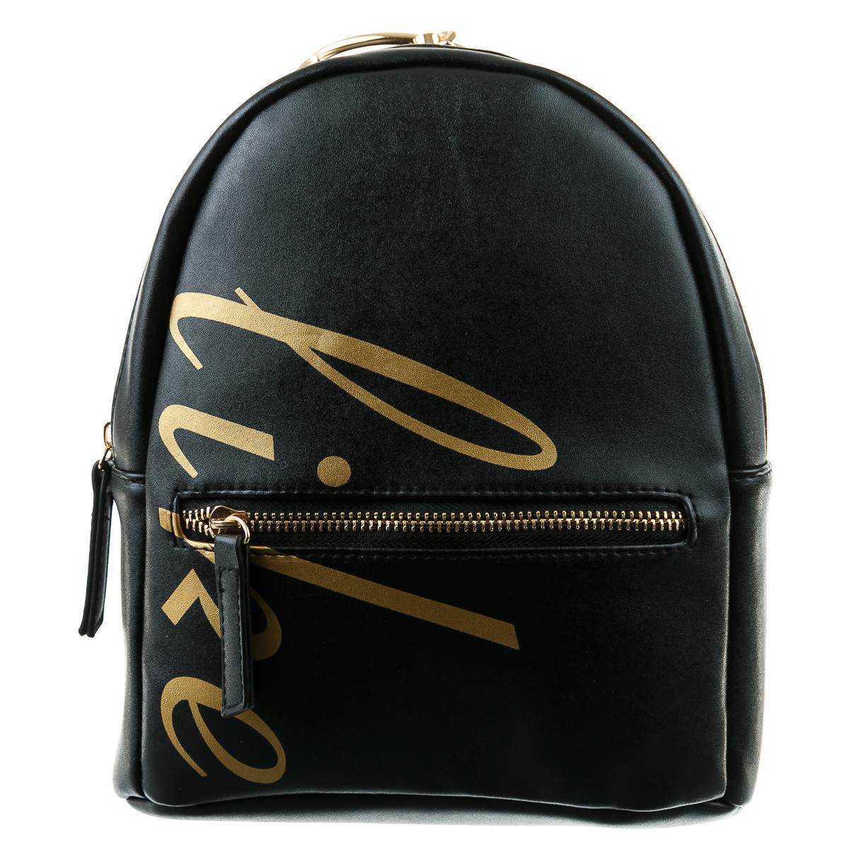 Рюкзак черный с золотой надписью и большим кольцом