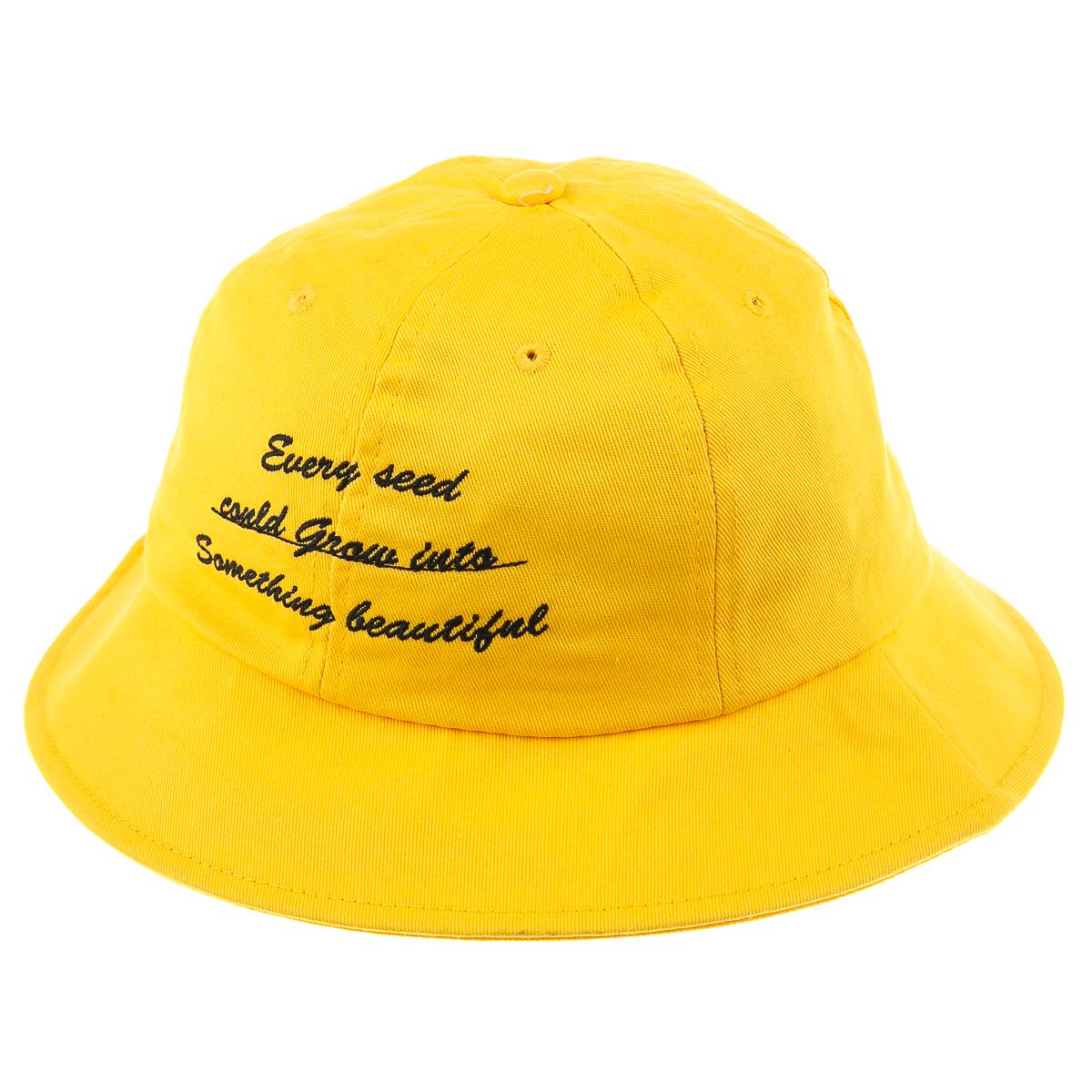 Панама желтая с черной надписью