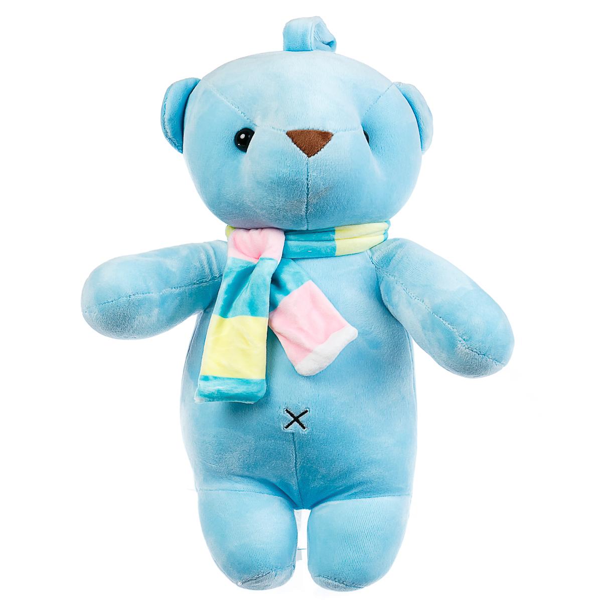 Мягкая игрушка мишка с шарфом синий