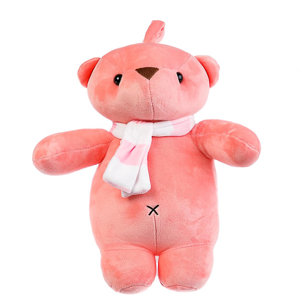 Мягкая игрушка Мишка розовый с шарфом