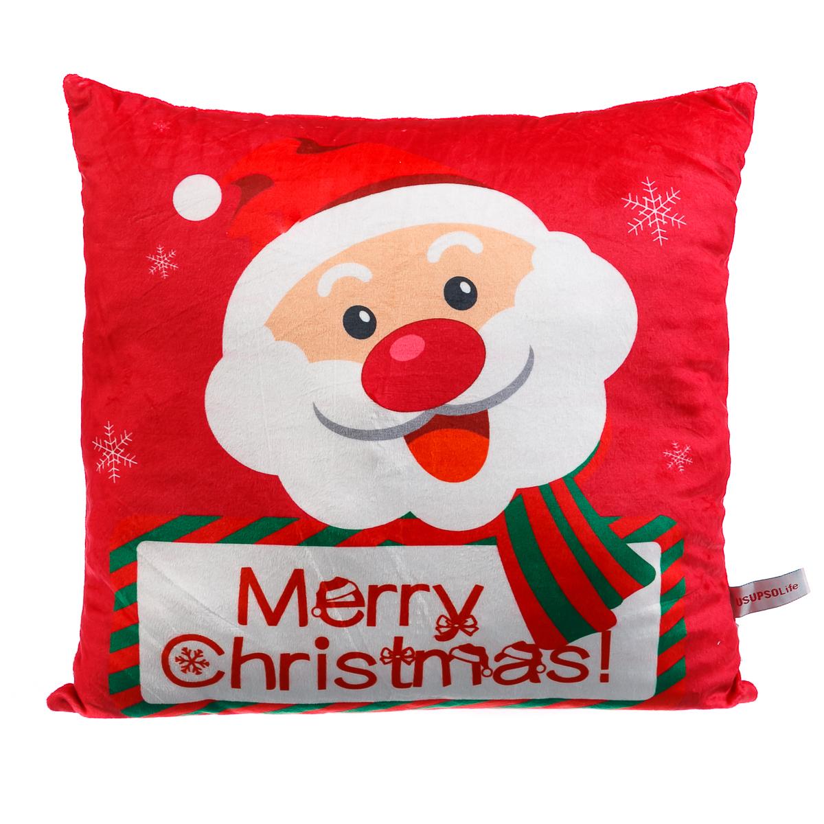 Подушка Рождественская, красная