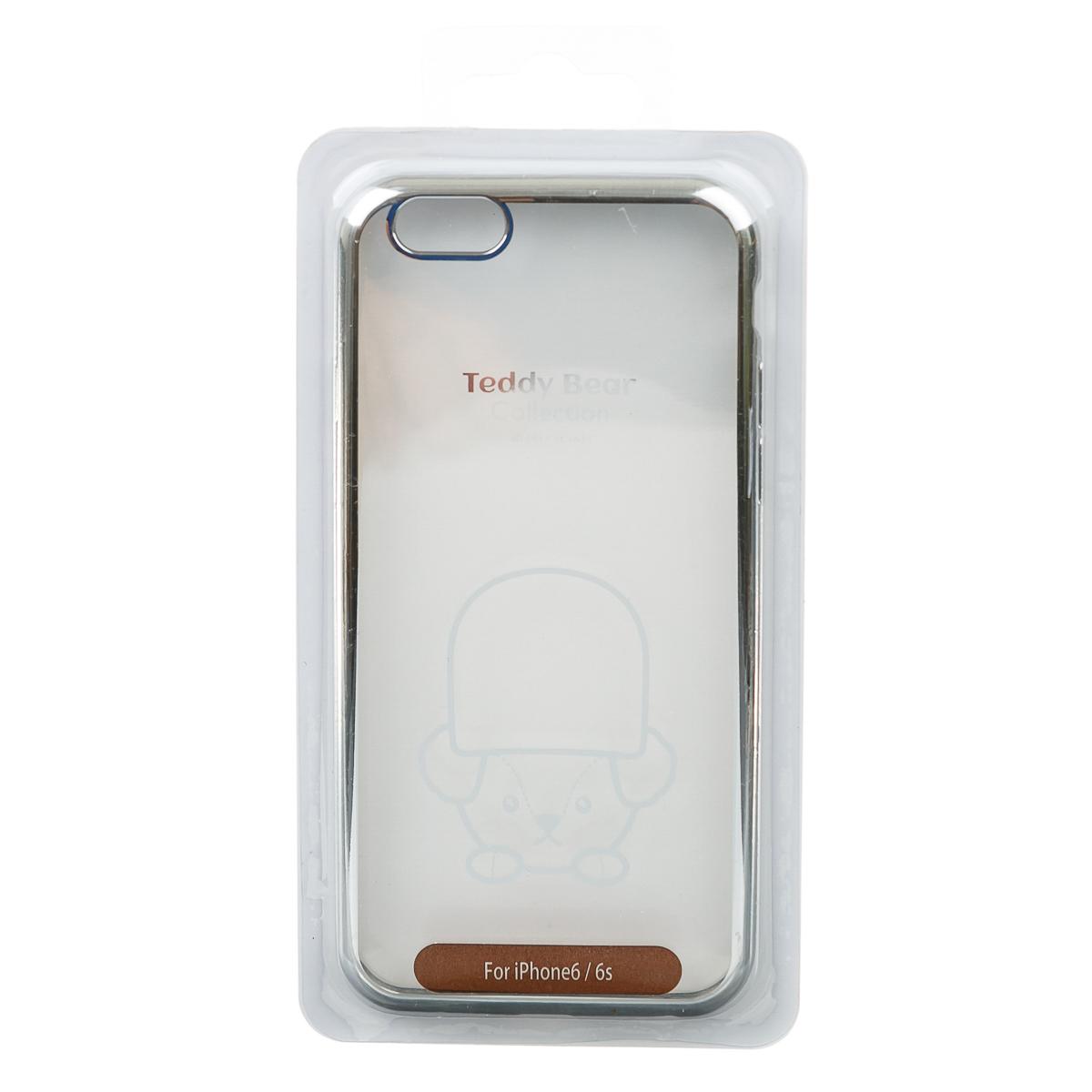 Чехол для iPhone 6 6S тедди прозрачный серебряный