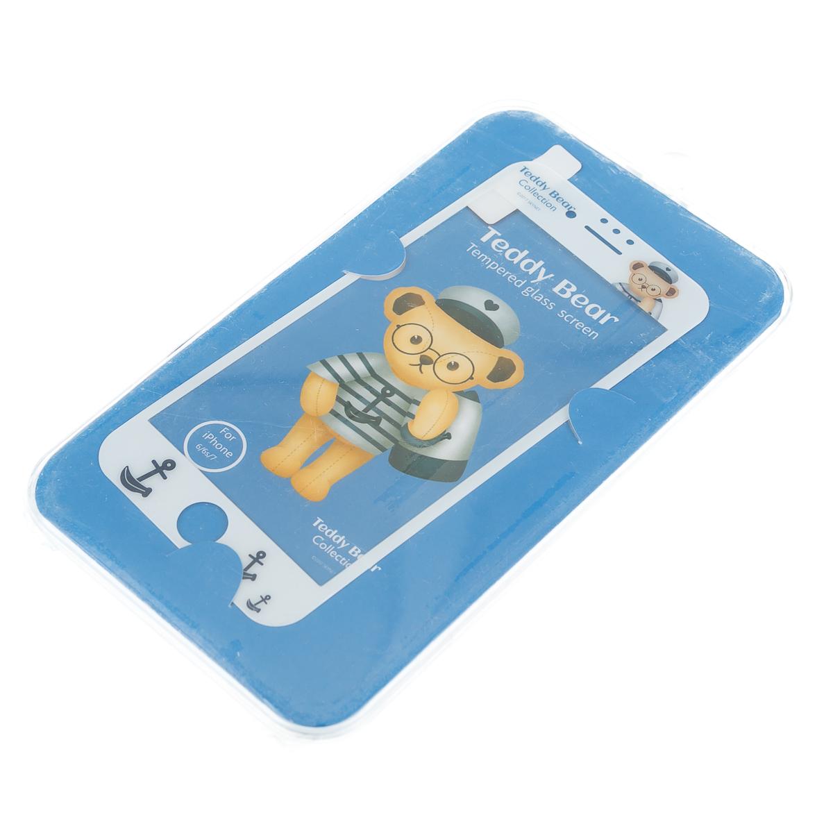 Стекло на Iphone 6 6S 7 голубой тедди