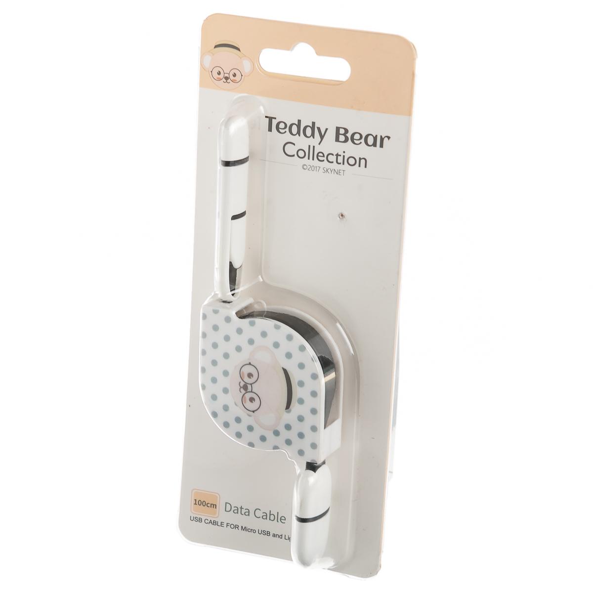 """Дата-кабель рулетка Iphone&Micro """"Тедди"""" в горошек"""