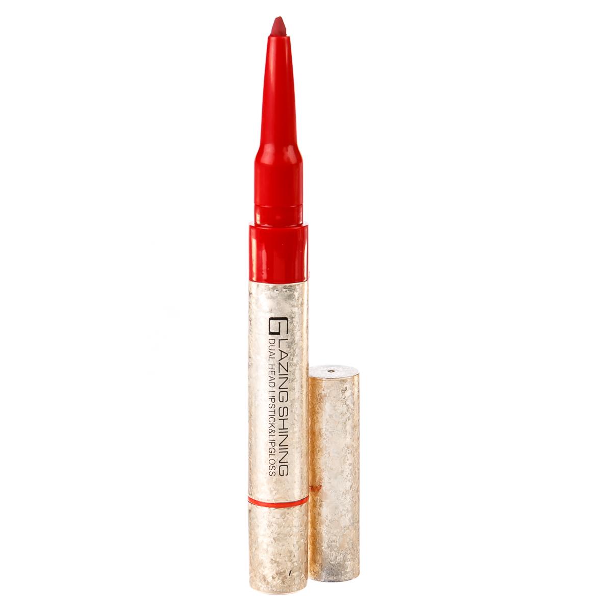 Двусторонний туб 2 в1: блеск для губ + карандаш 01